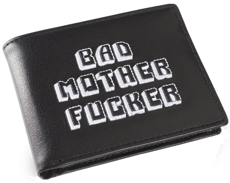 Black/White Embroidered Bad Mother Fucker Leather Wallet
