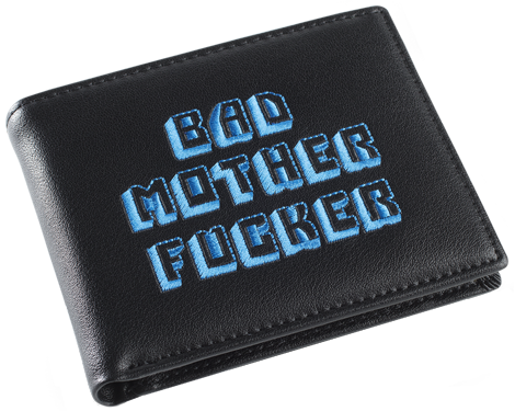 Black/Blue Embroidered Bad Mother Fucker Leather Wallet