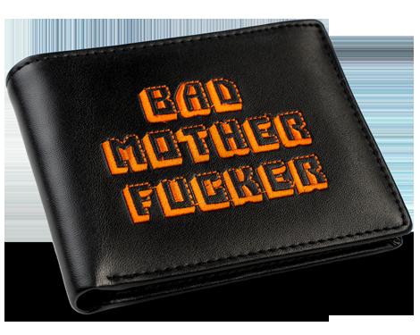 Black/Orange Embroidered Bad Mother Fucker Leather Wallet