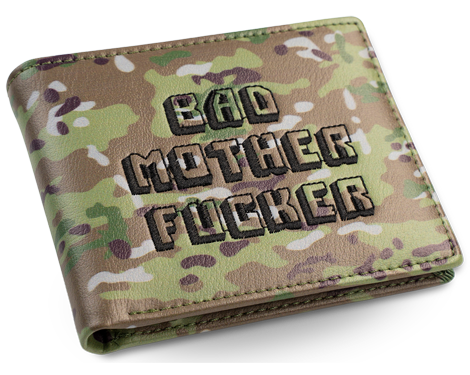 Camo Embroidered Bad Mother Fucker Leather Wallet