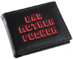 Black/Red Embroidered Bad Mother Fucker Leather Wallet