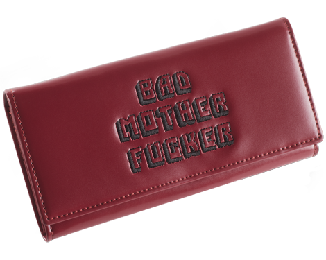 Pink Womens Embroidered Bad Mother Fucker Leather Wallet